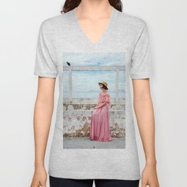 Woman in pink Unisex V-Neck