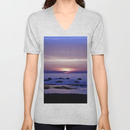Blue and Purple Sunset on the Sea Unisex V-Neck