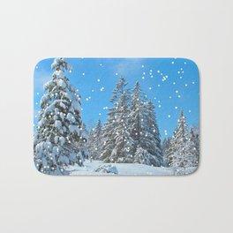 Winter Snow Scene Bath Mat
