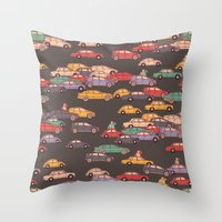 mercedes Throw Pillows featuring Never-ending traffic jam by smallDrawing