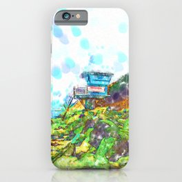 Life Guard Station On The Rocky Beach  iPhone Case