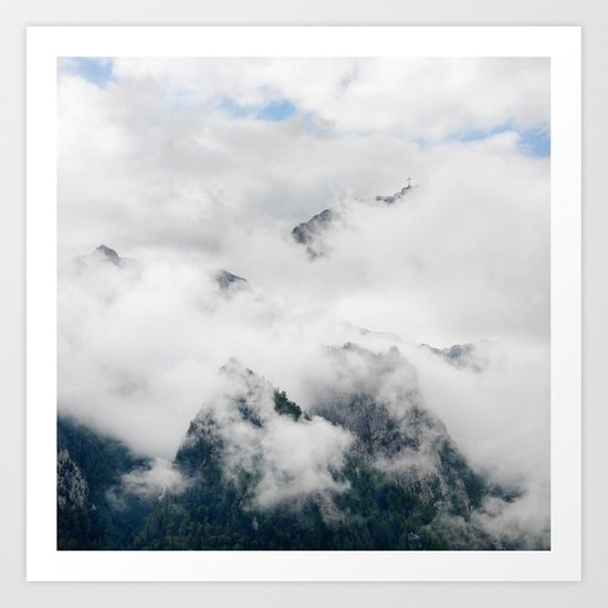 Foggy Cloudy Mountains Art Print