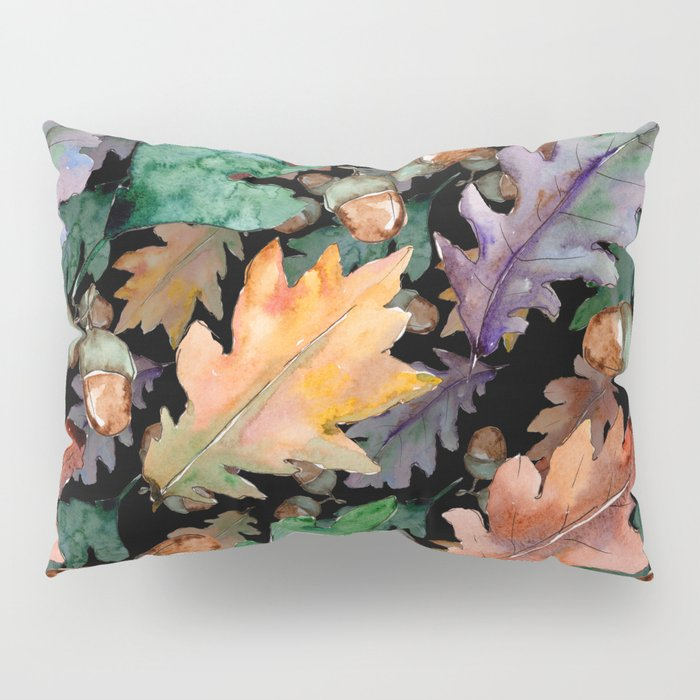 Colorful Woodland Watercolor Oak And Acorn Pattern Pillow Sham