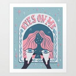 Eyes On Me - Coral Teal Art Print