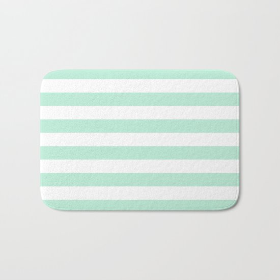 Stripe Horizontal Mint Green Bath Mat