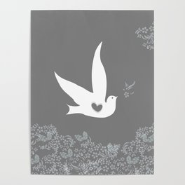 Wings of Love - Silver & Grey Poster