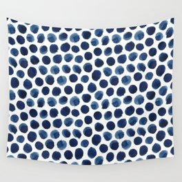 Large Indigo/Blue Watercolor Polka Dot Pattern Wall Tapestry
