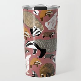 Eurasian badgers pattern Pink Travel Mug