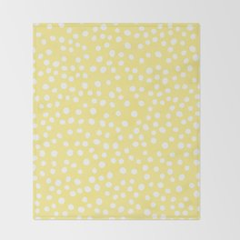 Pastel yellow and white doodle dots Throw Blanket