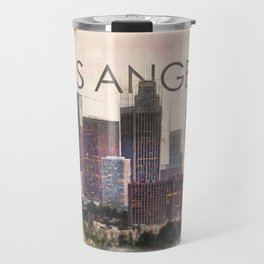 Los Angeles city skyline Mixed Media Travel Mug