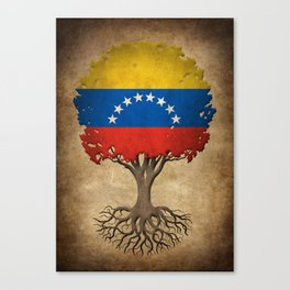 Vintage Tree of Life with Flag of Venezuela Canvas Print
