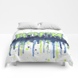 Seattle Boom Watercolor Comforters
