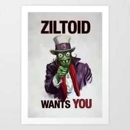 Uncle Ziltoid Wants You! Art Print
