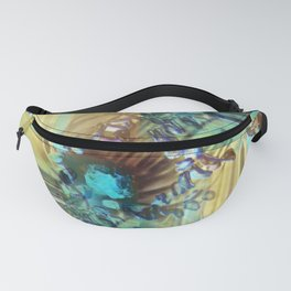 Teal and Brown Lined Abstract Fanny Pack
