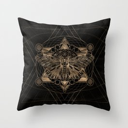 Regal moth in Sacred Geometry - Black and Gold Throw Pillow