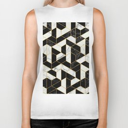 Black and White Marble Hexagonal Pattern Biker Tank