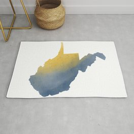 West Virginia State Map Watercolor Art Gifts Rug