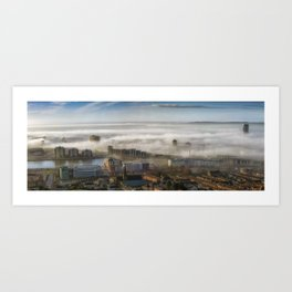 Foggy Swansea City Art Print