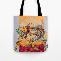 hunting Tote Bags featuring Bounty Hunting by MeleeNinja