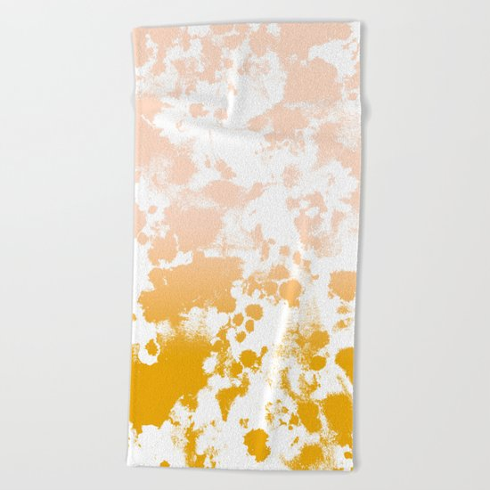 Minimal modern ombre gold to pastel pink abstract art pattern gender neutral Beach Towel