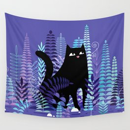 The Ferns (Black Cat Version) Wall Tapestry