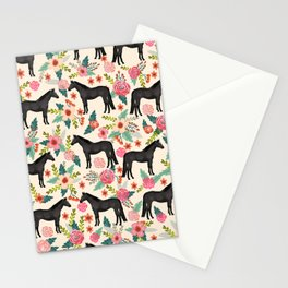 Black Horse Floral - cream, black beauty, horse, arabian horse, florals, floral, horse blanket, Stationery Cards