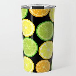 Citrus Slices on Black Travel Mug