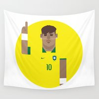 brazil Wall Tapestries featuring Neymar Brazil Illustration Print by Gary  Ralphs Illustrations