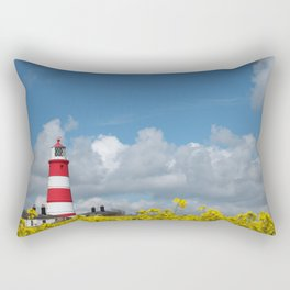 Happisburgh Lighthouse surrounded by Yellow flowering Oil Seed Rape Rectangular Pillow