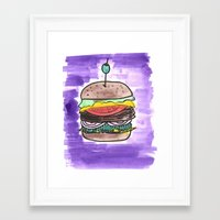 hamburger Framed Art Prints featuring hamburger by yayanastasia