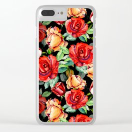 Hand painted black red watercolor roses floral Clear iPhone Case