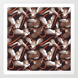 Owls with Ribbon Art Print