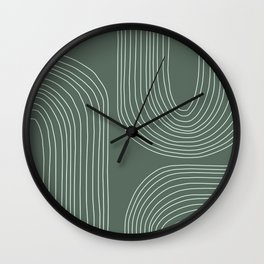 Hand drawn Geometric Lines in Forest Green 3 Wall Clock