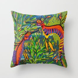 Weedy Seadragons Throw Pillow