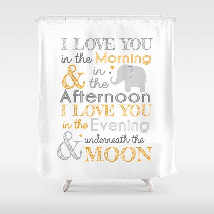 Elephant Nursery Poem Orange Shower Curtain