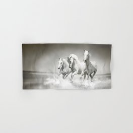 Wild White Horses Hand & Bath Towel