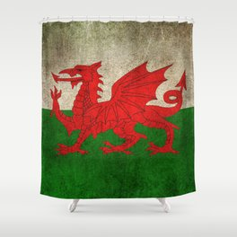Old and Worn Distressed Vintage Flag of Wales Shower Curtain