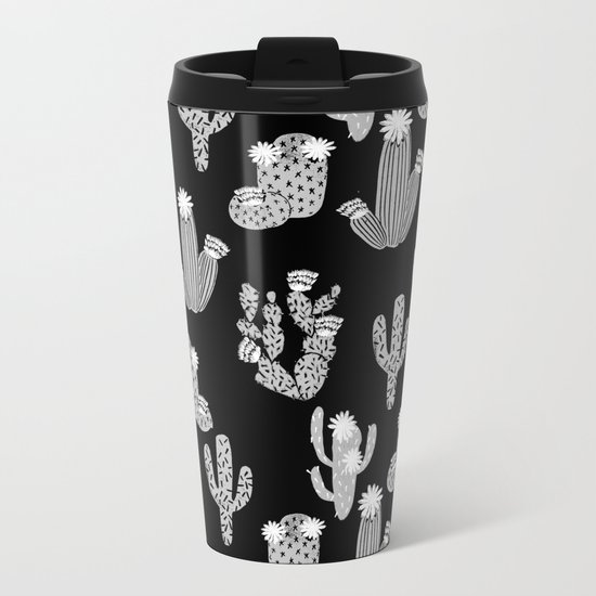 Cactus linocut black and white minimal desert southwest socal joshua tree Metal Travel Mug