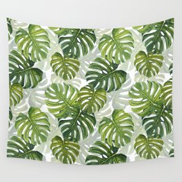 Tropical Monstera Leaf Pattern Wall Tapestry