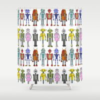 robots Shower Curtains featuring Robots by Annabelle Scott