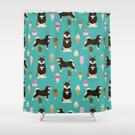 shiba inu black and tan ice cream dog breed pet pattern dog mom Shower Curtain