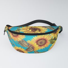 Vintage & Shabby Chic - Sunflowers on Teal Fanny Pack