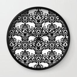 Elephant Damask Black and White Wall Clock