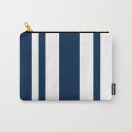 Mixed Vertical Stripes - White and Oxford Blue Carry-All Pouch