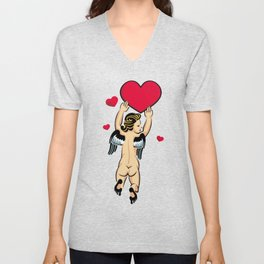Cupid flying with the red heart Unisex V-Neck