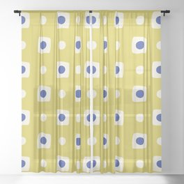 Mid Century Square Dot Pattern 8 Sheer Curtain