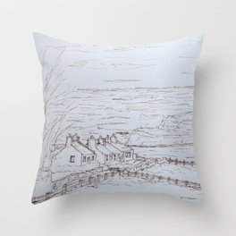 Clifftop cottages Moelfre Throw Pillow