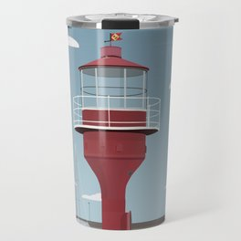 The lighthouse in the harbour in Skanor - light Travel Mug