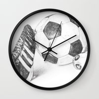 football Wall Clocks featuring Football by Dianadia