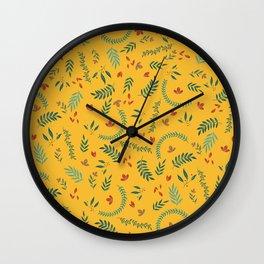 Leves in Yellow Ochre Wall Clock